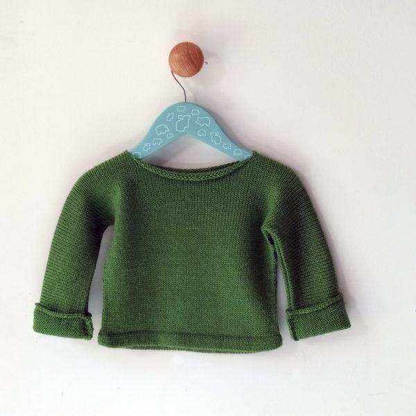 pull enfant 6 mois vert-bleu dos uni, tricoté par charlotte tricote.