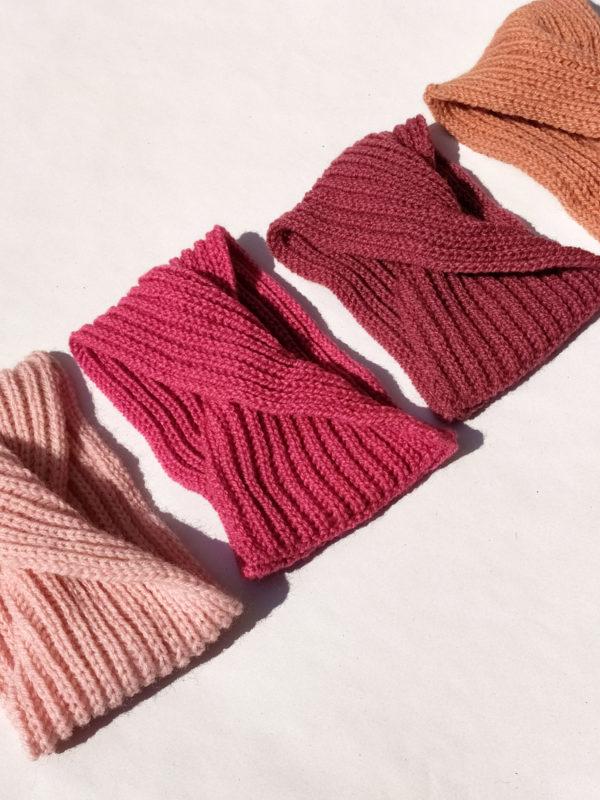 Ensemble de bandeaux, tour de tête, headband pour bébé dans les tons roses.