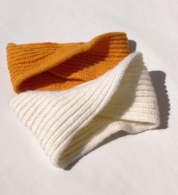 bandeaux enfant tricotés avec un mélange laine-acrylique par Charlotte tricote.