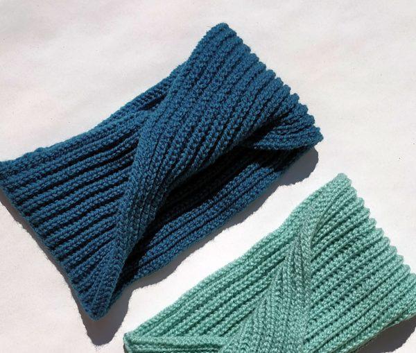 headband bleu réalisé en France, achat en ligne sur mon site charlotte-tricote.fr