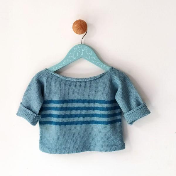 pull enfant, 12 mois bleu-bleu foncé à rayures, dos uni.