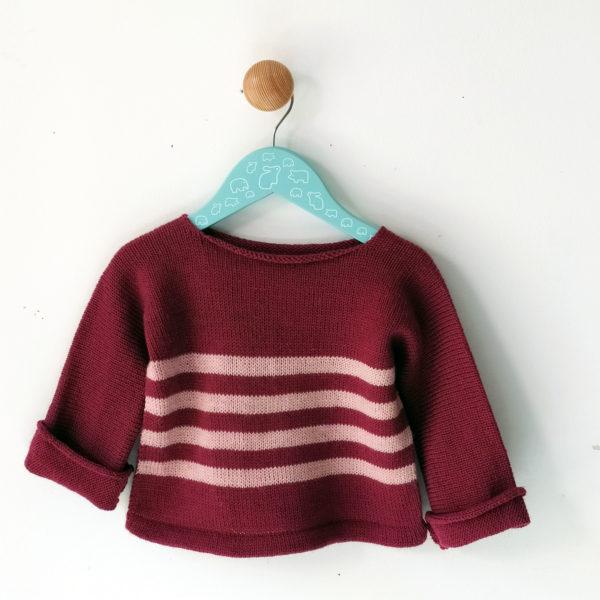 pull enfant 1 an rose-rose clair tricoté avec un mélabge de laine, tient bien chaud pour l'hiver.