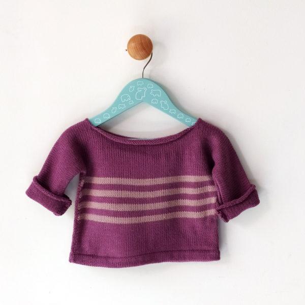 pull enfant 12 mois violet-vieux rose original et graphique.