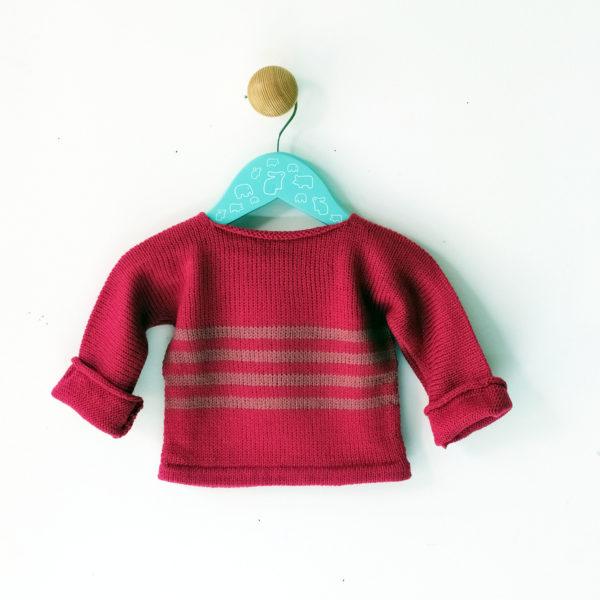 pull 3 mois rose-vieux rose tricoté en jersey dans les Hauts-de-France.