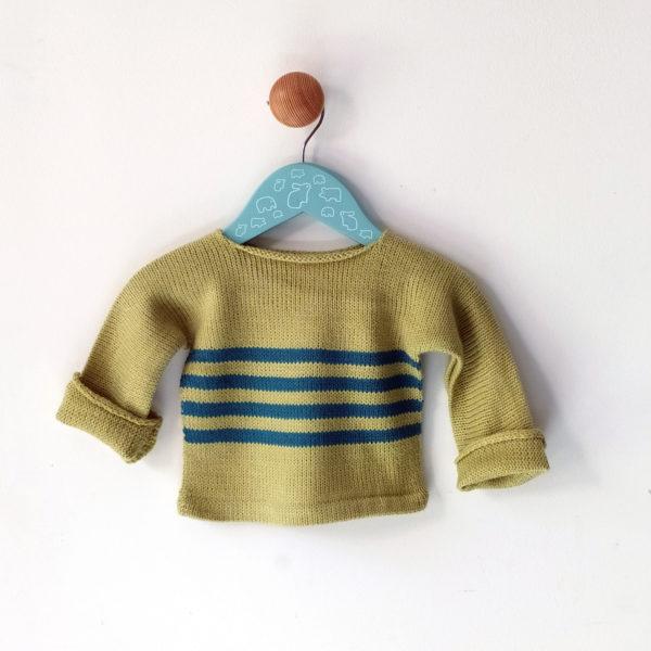 pull enfant 3 mois vert anis-bleu tricoté avec de jolies couleurs en France.