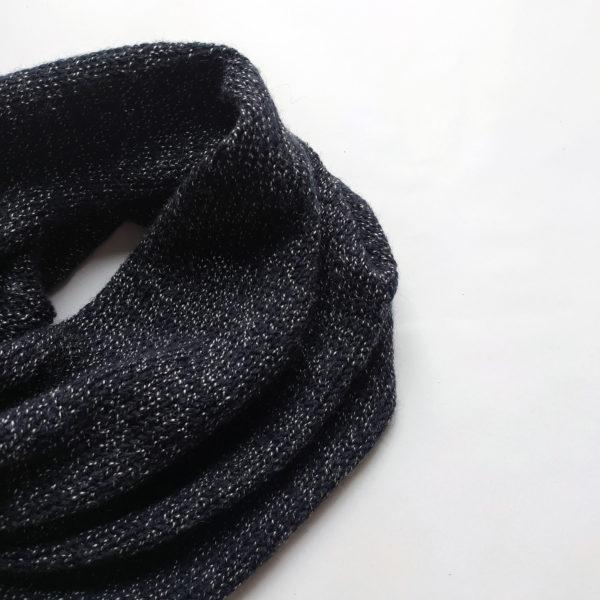 noir blanc chiné snood tour de cou homme france écharpe col tricot laine mélangée tubulaire circulaire accessoire hiver chaud pratique rond tube cache cou simple double détail
