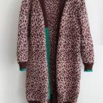 Gilet long avec un motif léopard tricoté
